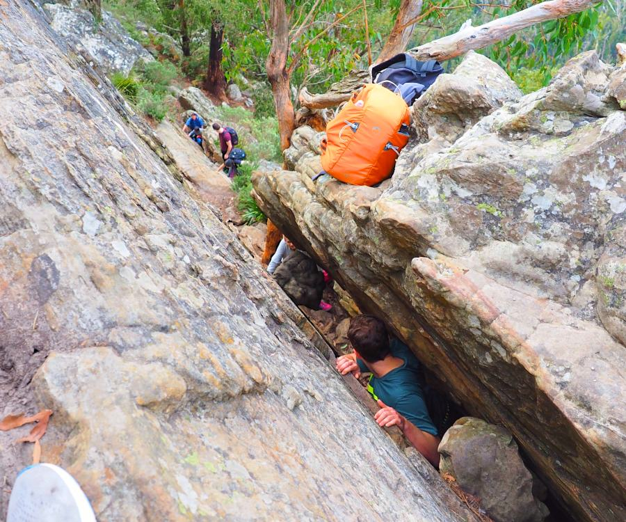 A tight climbing section on Wells Cave Track