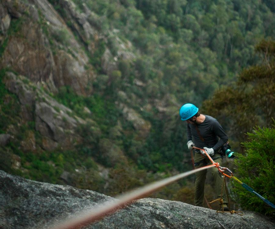 Abseiling with a view of Mt Buffalo