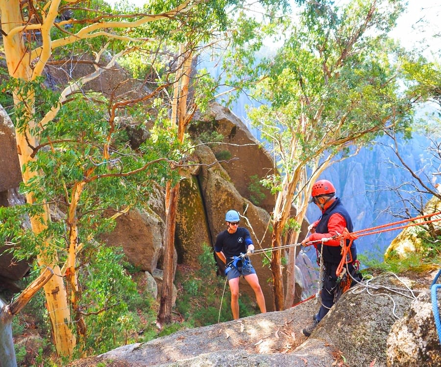 The first abseil location on Mt Buffalo