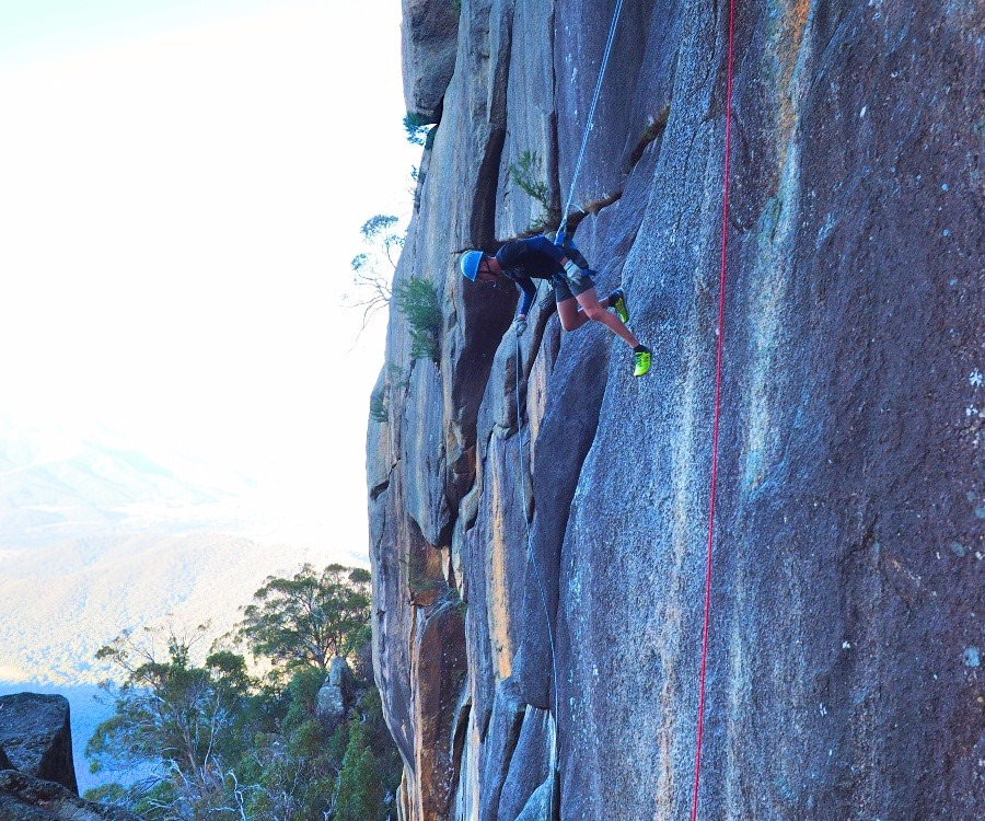 Abseiling forwards at Mt Buffalo