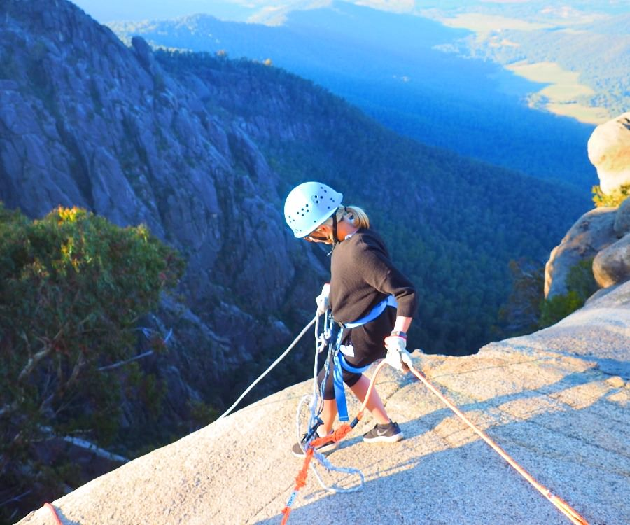 Abseiling on top of Mt Buffalo