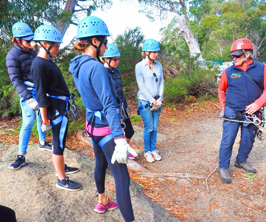 Instruction on how to abseil on Mt Buffalo.