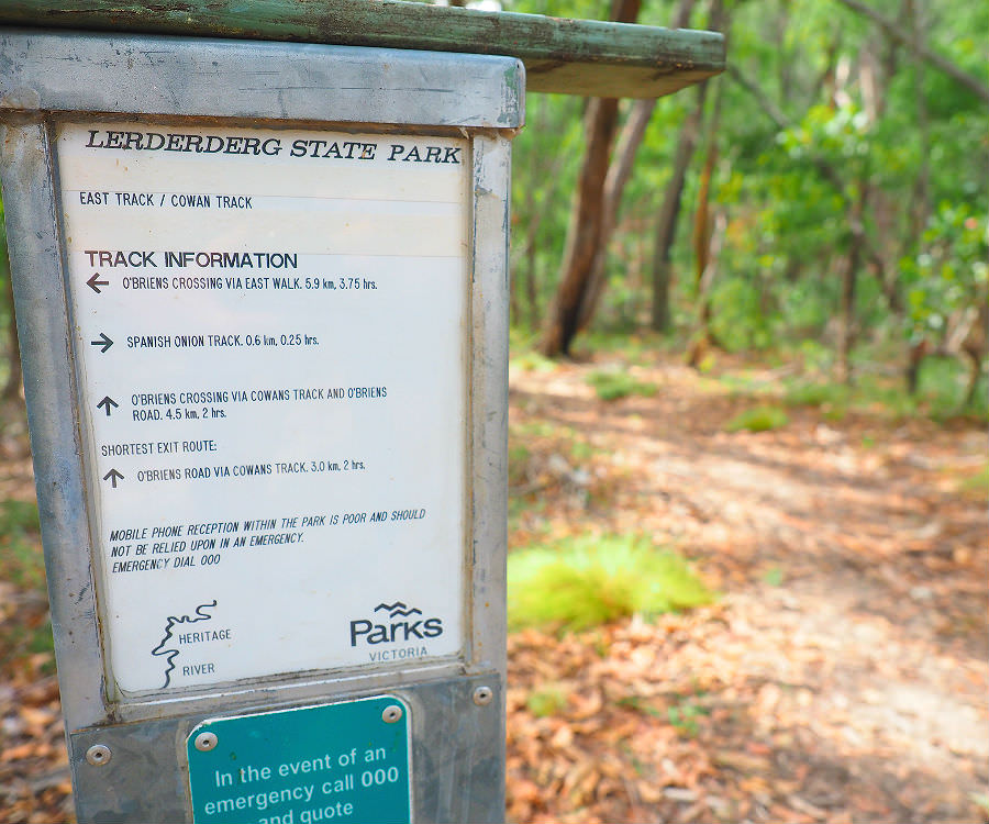 Signage for Cowans Track off East Walk