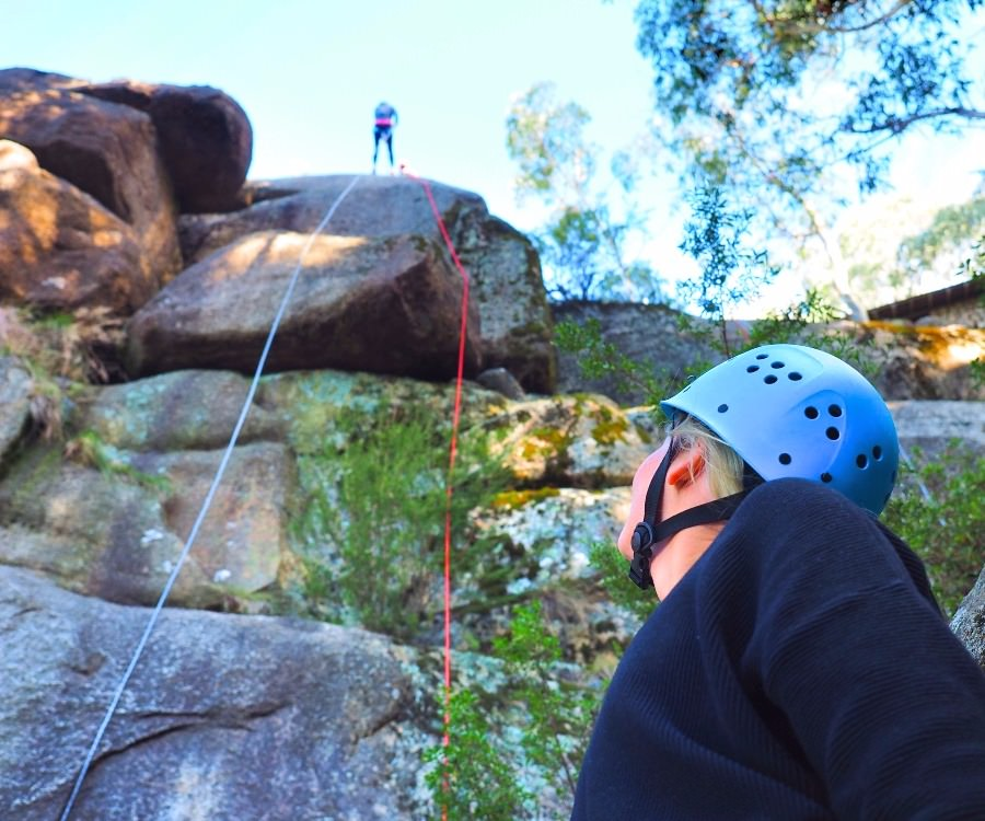 Abseiling at Mt Buffalo with Adventure Guides Australia.