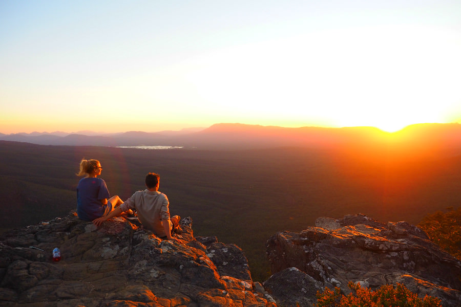 Watching the sunset at the Balconies in the Grampians