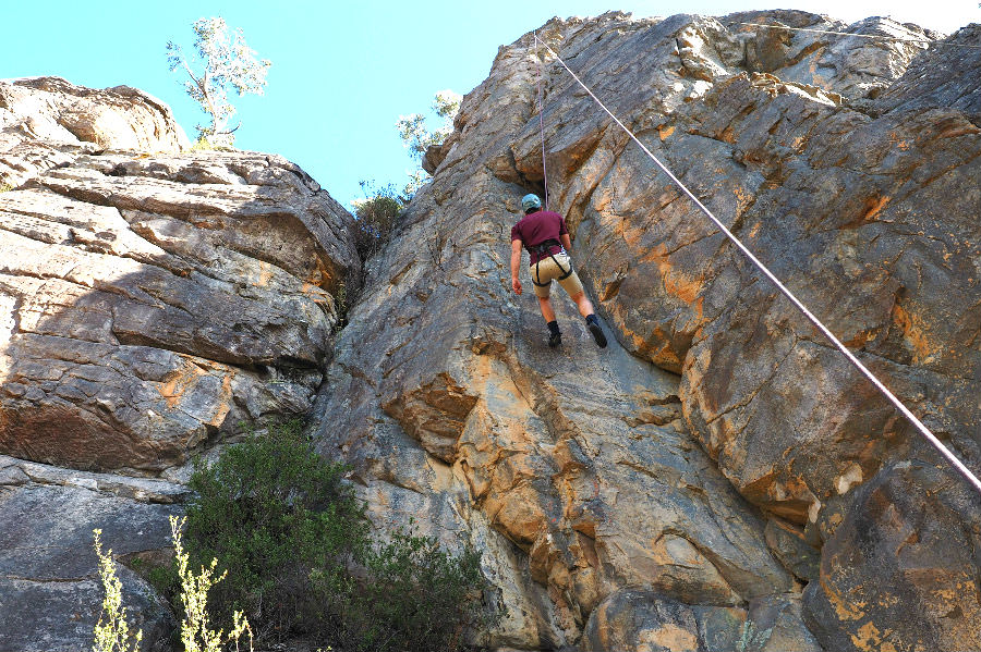 Taking a rest on the Grampians rock climb