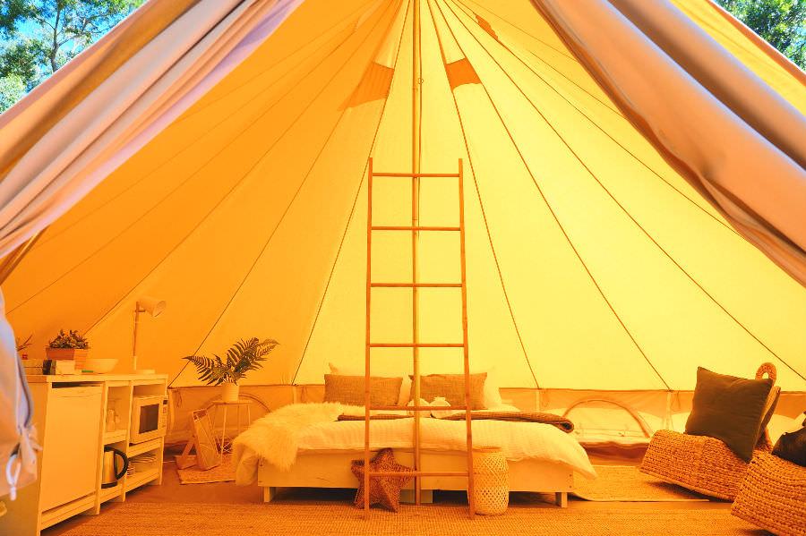 Inside the Bell Tent at Halls Gap Tourist Park
